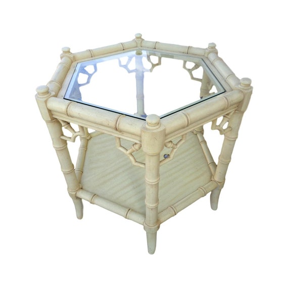 Vvh Vintage Hexagonal Faux Bamboo End Table Fretwork Accent Table Thomasville Allegro Side Table Chippendale Chinoiserie Palm Beach Coastal