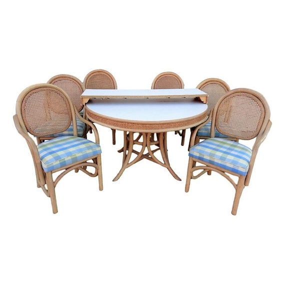 Remarkable Vvh Vintage Brown Jordan 8 Piece Rattan Dining Set With Six Cane Back Dining Chairs And Round Table With Leaf Coastal Mid Century Palm Beach Ocoug Best Dining Table And Chair Ideas Images Ocougorg