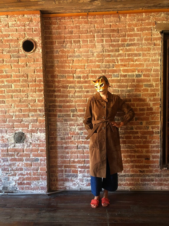 Belted Suede Leather Trench Coat // vintage boho h