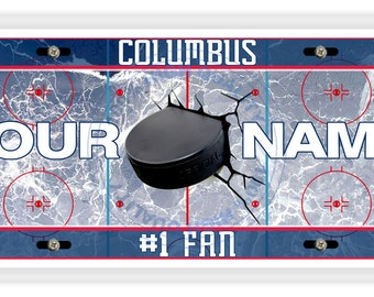 BRGiftShop Personalize Your Own Hockey Team Columbus Car Vehicle 6x12 License Plate Auto Tag