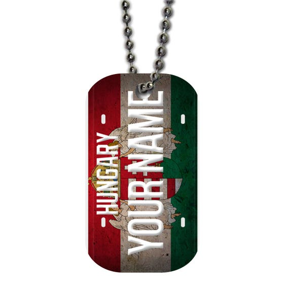 233ee2bbba38 Personalized Custom Name License Hungary Plate Single Sided Metal Military  ID Dog Tag with Beaded Chain