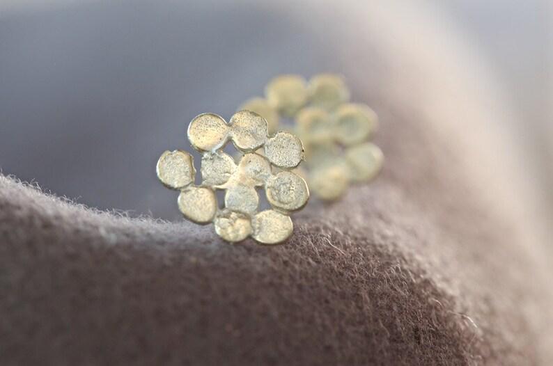 14k gold earrings Unique gold earrings gold cluster earrings handmade artisan jewelry solid gold stud earrings gold post earrings