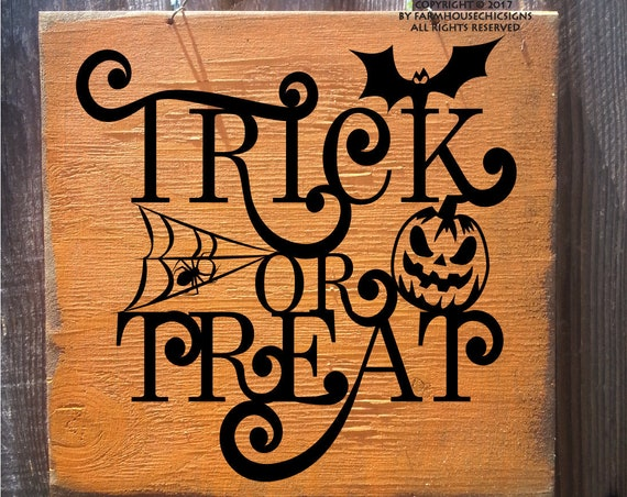 trick or treat wall art rustic trick or treat sign wood farmhouse style Halloween decoration Halloween sign Halloween party decor
