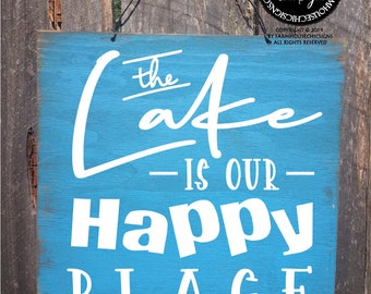 Lake Vacation Photo Frame The Lake is Our Happy Place Wood Lake Frame Family Lake House Frame