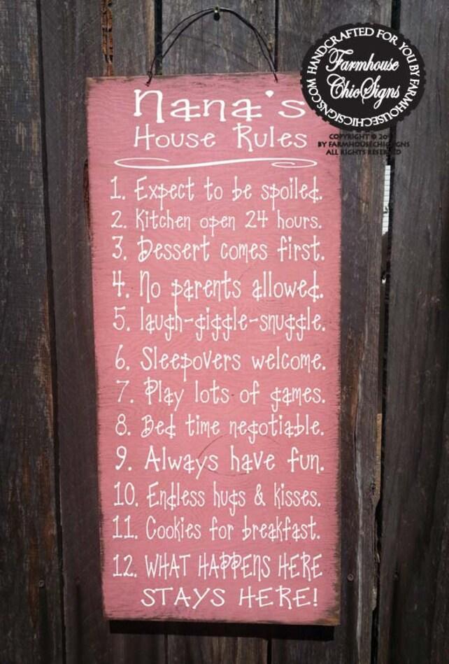 Nana\'s House Rules Sign family saying funny nana sign | Etsy