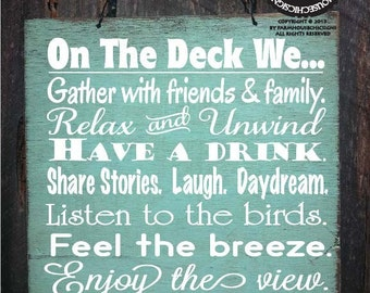 DECK RULES, deck sign, patio decor, patio sign, deck decor, outdoor living, deck sign, deck decoration, 100/110