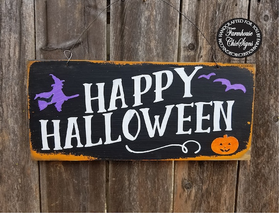 Colorful Happy Halloween Sign