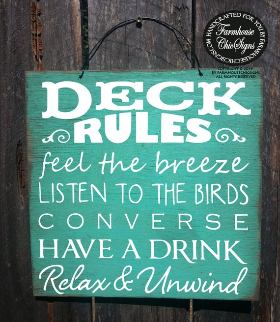 Deck Rules Rusic Sign
