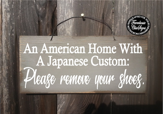 Funny American Home Japanese Custom No Shoes Sign