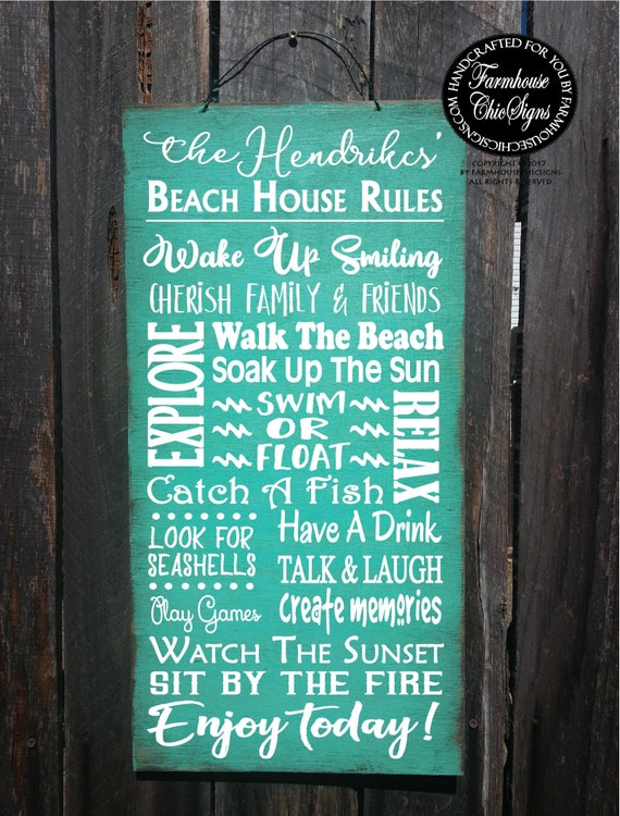 beach decor, beach decor, beach rules sign, personalized sign,  personalized beach decor, personalized beach rules, beach house sign