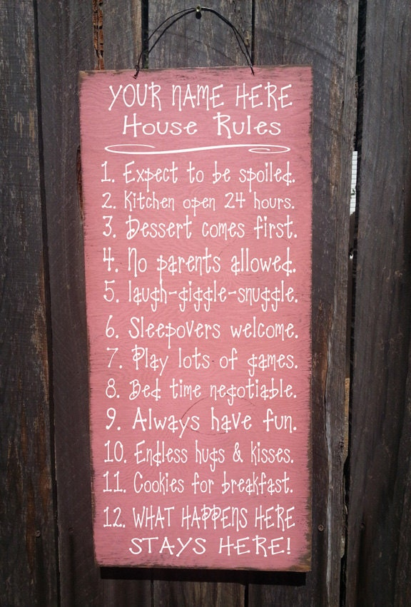 Personalized Grandma's House Rules Sign, family saying