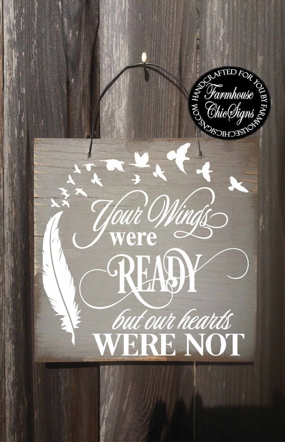 memorial sign, your wings were ready, memorial gift, memorial plaque, bereavement gift, bereavement, sympathy gift, sympathy