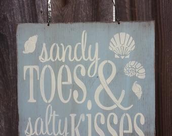 sandy toes salty kisses, beach sign, beach decor, beach house decoration