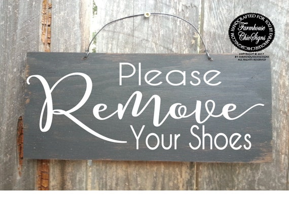 Please Remove Your Shoes Rustic Sign