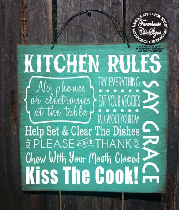Kitchen Rules Sign: Kitchen Rules Sign Kitchen Decor Kitchen Sign Dinner Rules