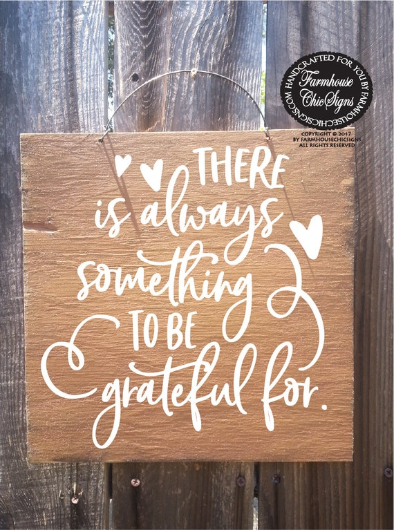 there is always something to be grateful for rustic wood farmhouse style sign gratitude wall art grateful sign fall decoration autumn decor