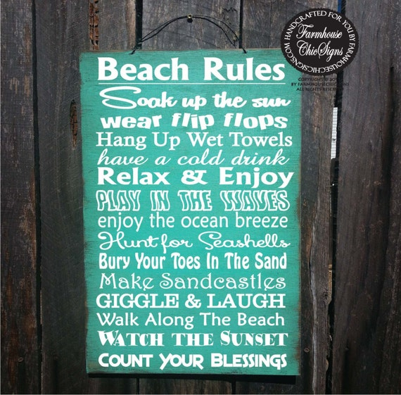 beach sign,  beach decor, Beach Rules Sign, beach house decor, beach house sign, rustic beach sign