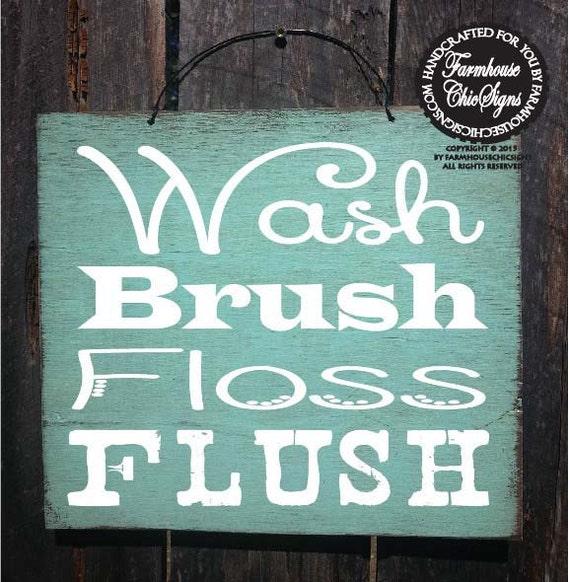 bathroom decor, bathroom sign, bathroom decoration, kids bathroom decor, wash brush floss flush sign, 78
