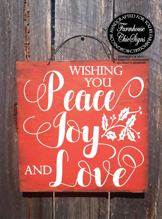 wishing you peace joy and love rustic Christmas sign farmhouse style hand painted wood Christmas decoration Christmas wall art