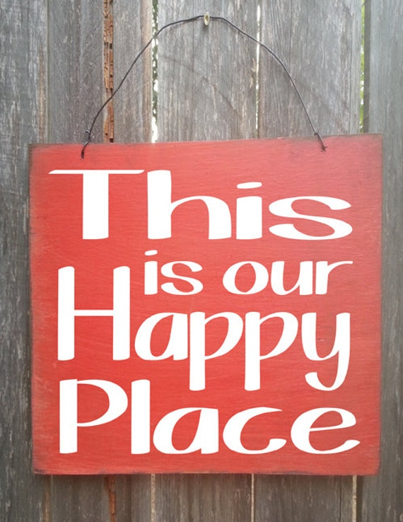 Happy Place Sign, This Is Our Happy Place Sign, Rustic Sign, Distressed Sign, Family Sign