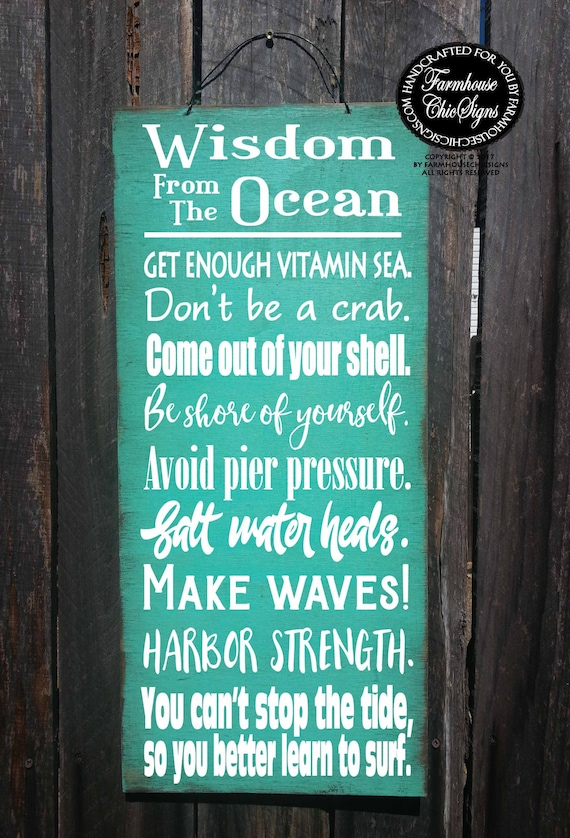 beach sign,  beach decor, Wisdom From The Ocean Sign, beach house decor, beach house sign, ocean sign, beach, beach cottage decor, 276/278