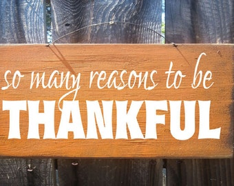 fall sign rustic autumn decoration farmhouse style wood fall sign  thankful sign Thanksgiving decoration so many reasons to be thankful