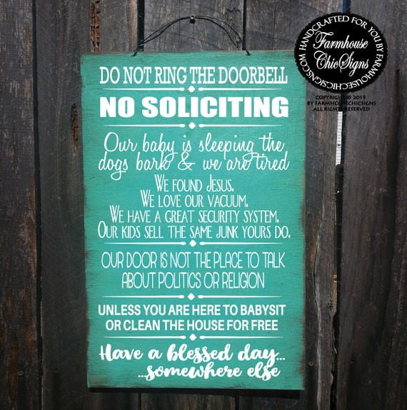 Funny No Soliciting Combo Sign