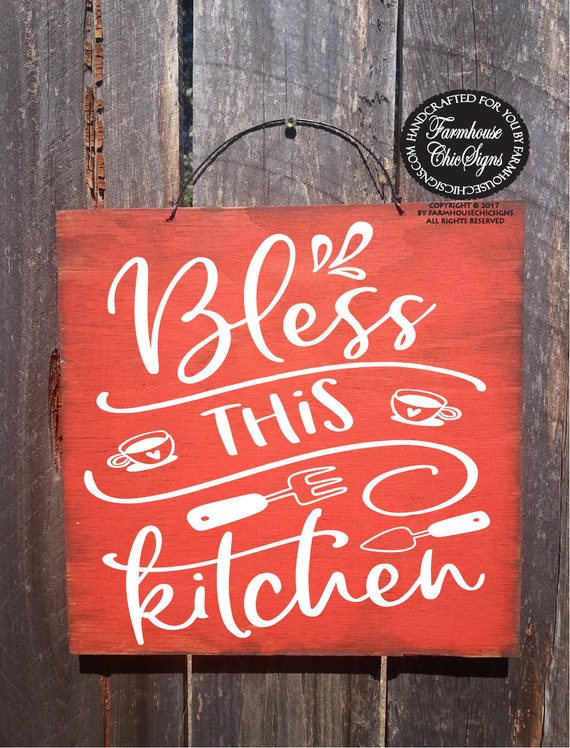 rustic farmhouse style kitchen sign farmhouse chic kitchen decoration bless this kitchen wall art gift for mom Christmas gift for kitchen