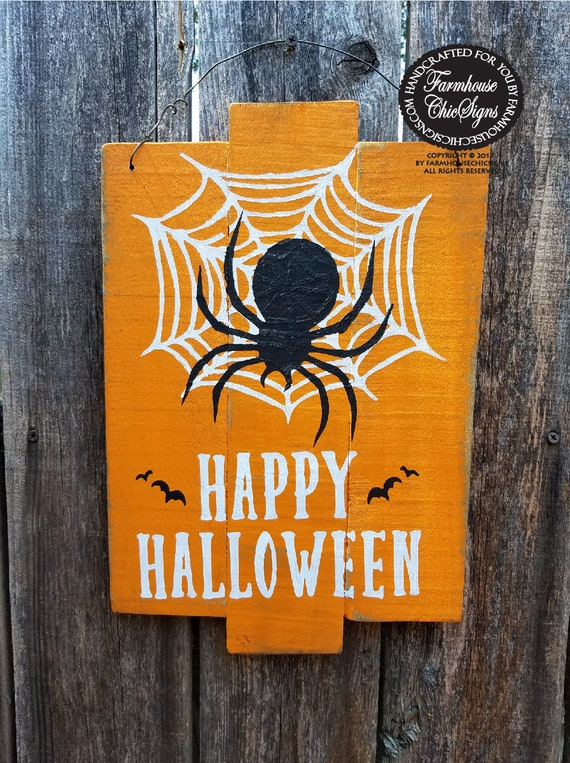 happy halloween sign spider web sign rustic farmhouse style Halloween decor Halloween party decoration black spider sign rustic Halloween