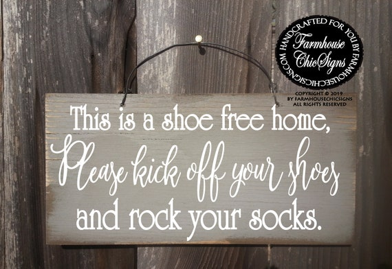 This Is A Shoe Free Home Rustic Wood Sign