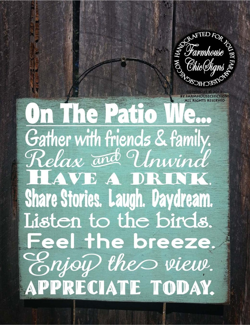 PATIO RULES patio sign patio decor patio decoration deck image 0