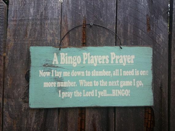 A Bingo Players Prayer Sign - Bingo Saying - Bingo Sign, 185