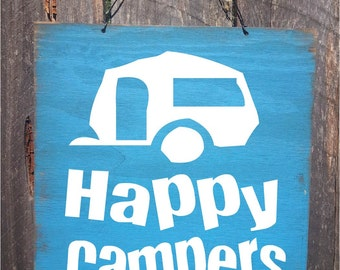 camping decor, happy campers, camping sign, travel trailer sign, trailer decor, camping decoration, Camping, Camper Sign, Camper decor, 115