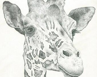 Pointillism illustration of a giraffe print