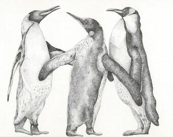 Pointillism illustration of penguins