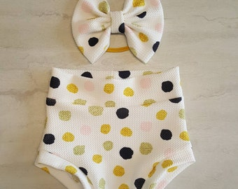 Popsicle Print on White with Yellow Trim Jersey Knit bummies toddler diaper cover Summer Ice Pops Baby Girl Bummies