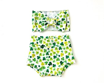 Baby toddler diaper cover bloomers bummies st Patrick day green trebol