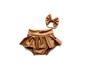Valentines outfit Skirted bummies tshirt headwrap leather bow