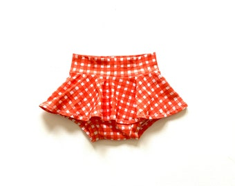 Red and Blue Plaid BloomersDiaper Cover- gender neutral size 18-24 months White