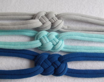 Set of 3 Sailor Knot Headband, Jersey knit Stretch Headband - Choose SIZE and COLORS