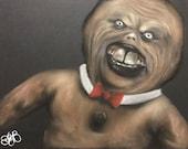 "Killer Gingerbread Man 10""x8"" soft pastel drawing"