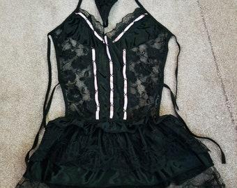 Black Pink-Satin Ribbon Laced Backless Dress + Panties