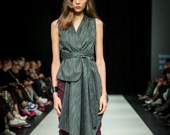 Dark gray asymmetrical vest
