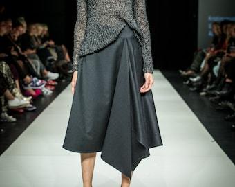 Dark gray asymmetrical skirt