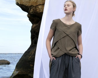 Khaki rayon tunic, short sleeves, longer back