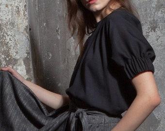 Black rayon blouse, batwing