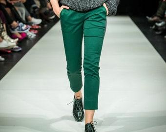 Dark green, dark gray cigarette pants,  slim fit