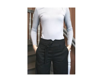 Black, wide pants, higher waist