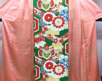 "OBI Fukuro obi "" Kikko and festive flowers "" Nishijin obi rokutsu in mint condition Japanese kimono"