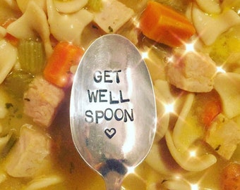 Get Well Spoon, get well soon, hand stamped spoon, vintage, care package gift, under the weather, spoon